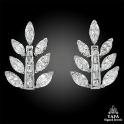 Platinum Diamond Leaf Motif Earrings