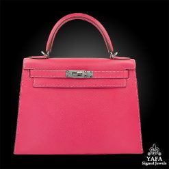 HERMES 28cm Pink Leather Kelly Bag