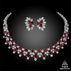 HARRY WINSTON Diamond, Burma Ruby Necklace & Earrings