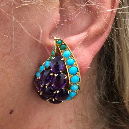 Cabochon Amethyst, Turquoise Paisley Brooch & Earrings