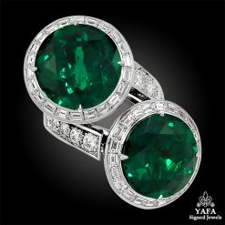 Platinum Colombian Emerald, Diamond Bypass Ring / Earrings